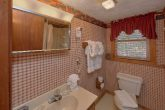 Private bathroom in King bedroom at cabin