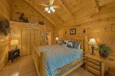 Master bedroom with King bed in 2 bedroom cabin