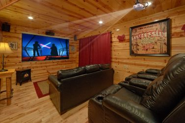 Pigeon Forge Cabin Rental Theater Room | Home Theater