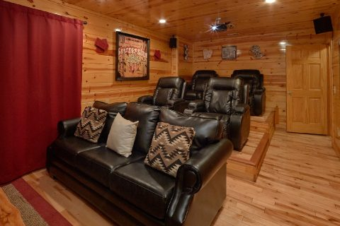 Home theater room in 2 bedroom cabin rental - A Bear Endeavor