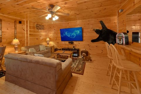 Game Room with Large TV and Sleeper Sofa - A Bear's View