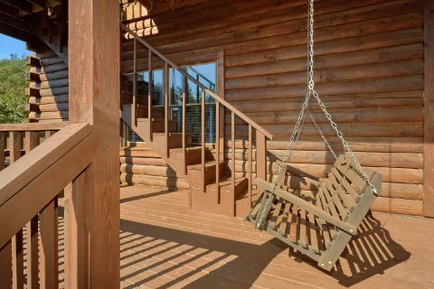 Cabin with Porch Swing and Picnic Table - A Beary Happy Place