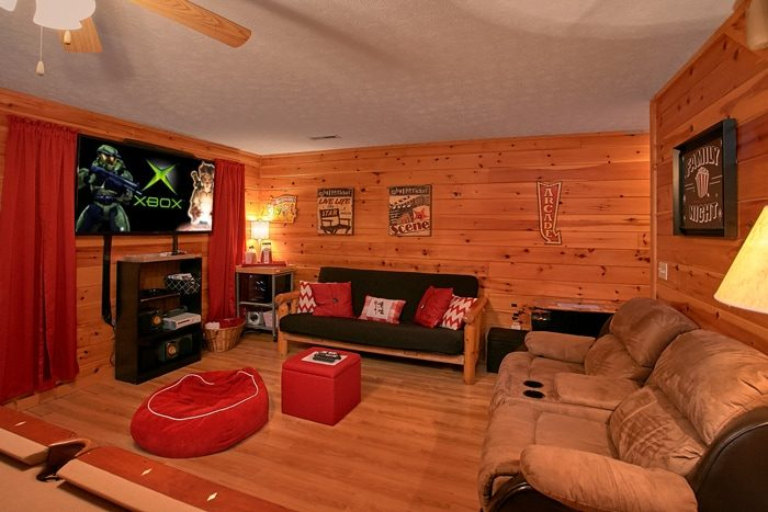 3 Bedroom Cabin Theater Room and Seating - A Grand Getaway