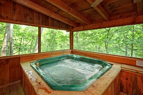 Hot Tub on Screened in Deck - A Hidden Mountain 360