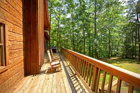 Deck with Wooded View - A Hidden Mountain 360