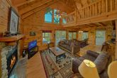 Living Room with Fireplace in 3 bedroom cabin