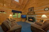 Cozy Living room with fireplace in rustic cabin