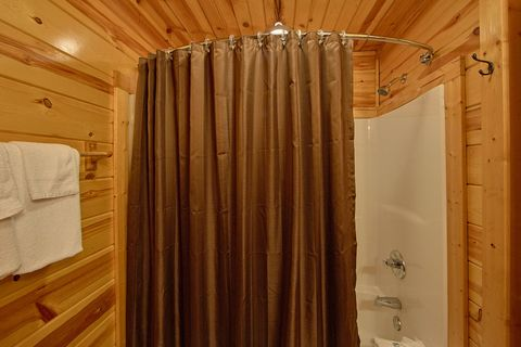 Private bath attached to King Bedroom in cabin - A Perfect Stay