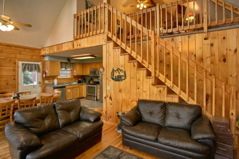 Spacious Living Room in 3 Bedroom Cabin - A Ruff Life