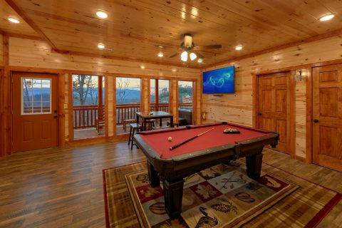 Game Room with Large TV and Pool Table - A Smoky Mountain Dream
