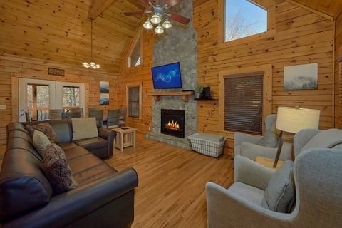 Living Room with fireplace at 4 Bedroom cabin - A Smoky Mountain Experience