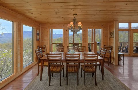 Luxury Cabin with mountain view from dining room - A Spectacular View to Remember