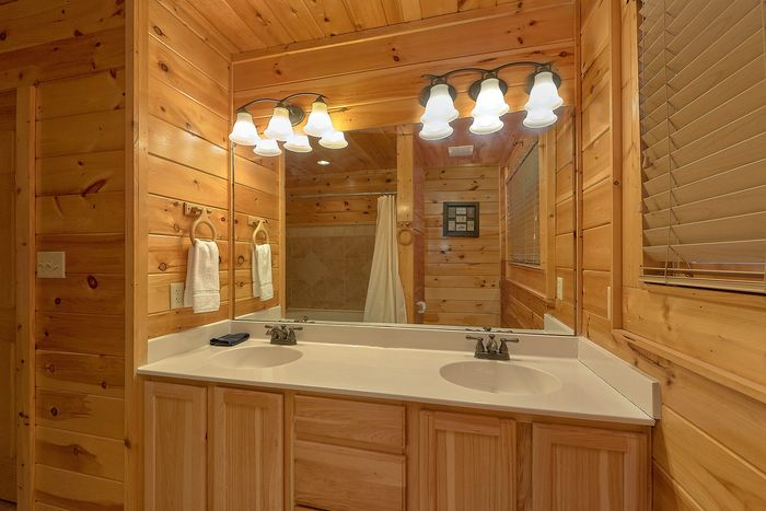 His and Her Bathroom Sinks in Cabin - Absolutely Viewtiful