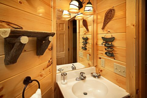 Decorated Bathroom in One Bedroom Cabin - Adler's Ridge