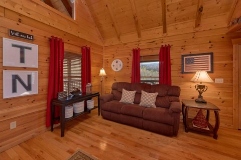 Spacious living room with fireplace in cabin - American Pie