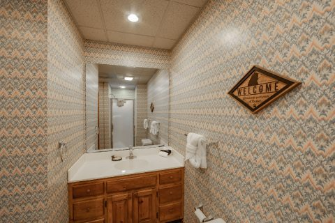 Lower Level Full Bathroom Sleeps 10 - Appalachian Bear Den