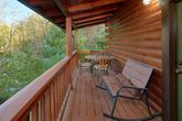 2 bedroom cabin with Rockers on covered deck