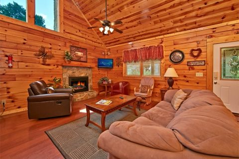 Pigeon Forge Cabin Living Area with Fireplace - Autumn Ridge