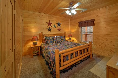 Smoky Mountain Cabin Lower-Level Bedroom - Bear Creek Lodge