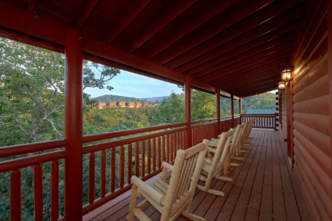 Rocking Chairs and Gas Grill on Cover Decks - Bear Paddle Lodge