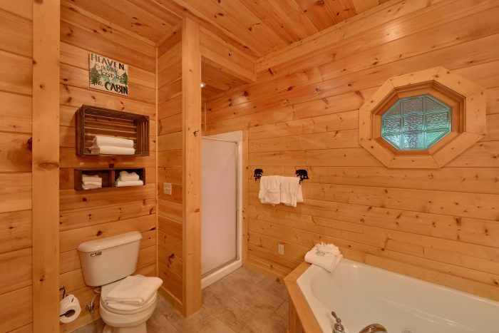 1 Bedroom Cabin Master Bath with Walk In Shower - Bear'ly Makin' It