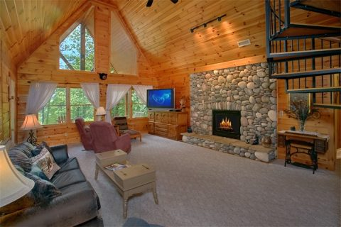 Cabin with Large Stone Fireplace and View - Big Bear