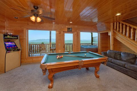 Game Room with Large TV, Arcade, and Pool Table - Blue Sky