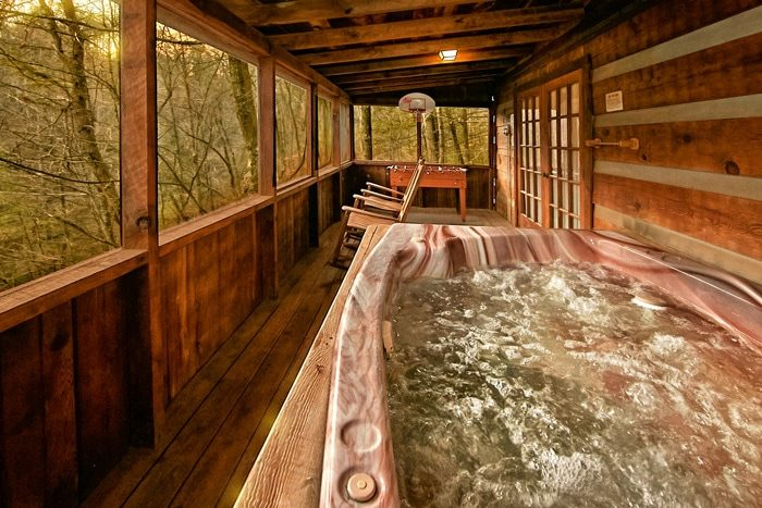Cabin with hot tub on screened porch - Bluff Haven