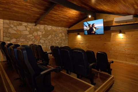 Premium Theater Room in 11 bedroom cabin rental - Bluff Mountain Lodge