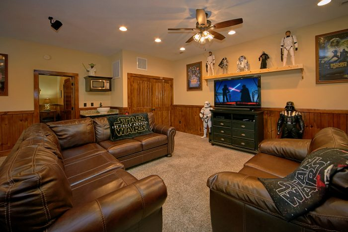 Media Room with Surround Sound in Game Room - Alpine Mountain Lodge