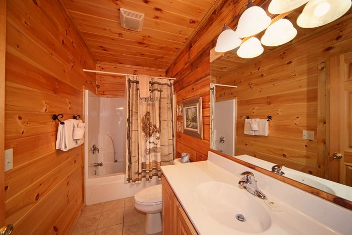 Spacious Bathroom in a 1 Bedroom Cabin Rental - Cherished Memories