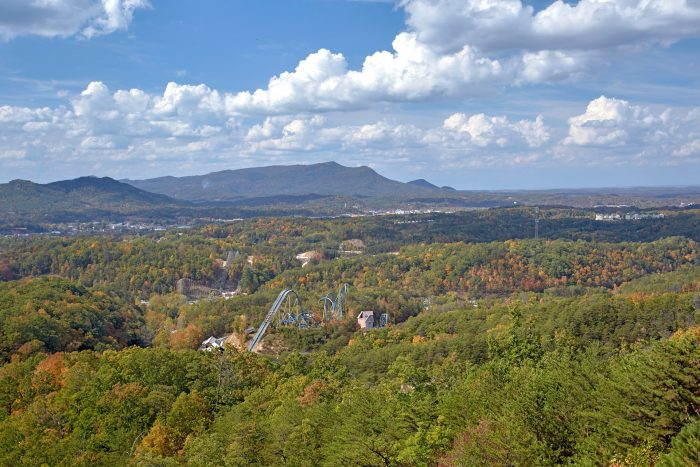 Views of Dollywood from Starr Crest Resort Cabin - Copper Ridge Lodge