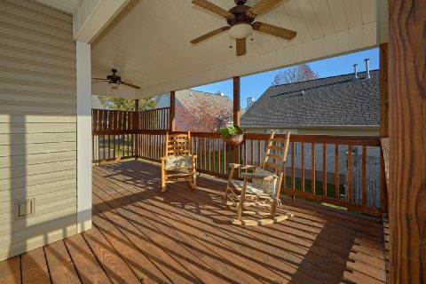 Large Covered Back Deck with Rocking Chairs - Cozy Cuddles