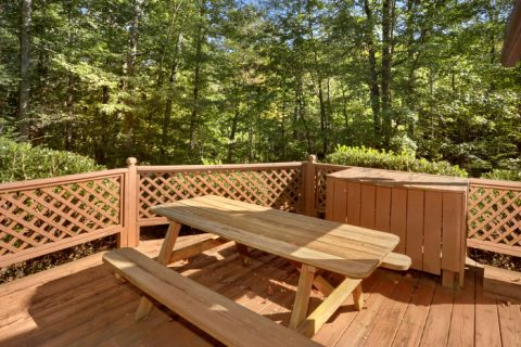 Outdoor Picnic Table with Fire Pit and Hot Tub - Cuddles