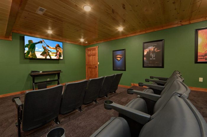 Theater Room 6 Bedroom Cabin Sleeps 14 - Family Fun Pool Lodge 2