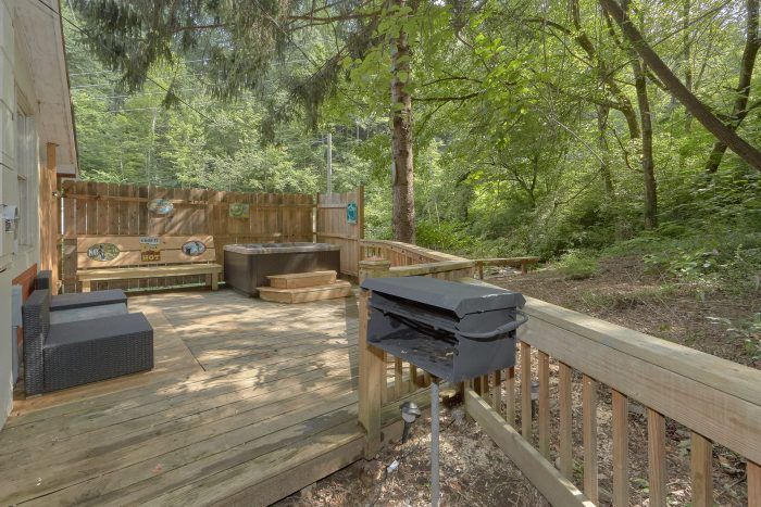 Private Hot Tub and Charcoal Grill on Deck - Gatlinburg Creekside Haven
