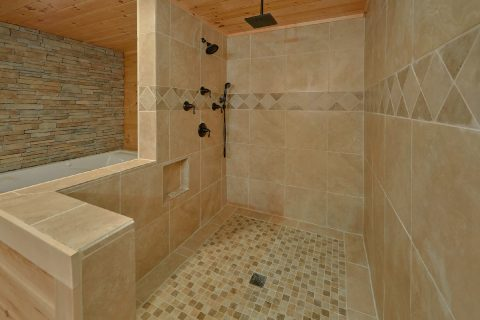 Main Floor Master Suite Bath Room Roll In Shower - Hideaway Dreams