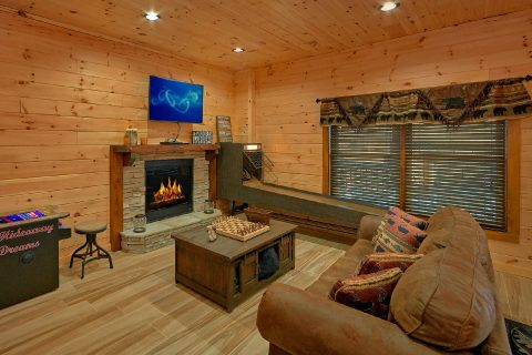 Comfortable Large Game Room Gas Fireplace - Hideaway Dreams