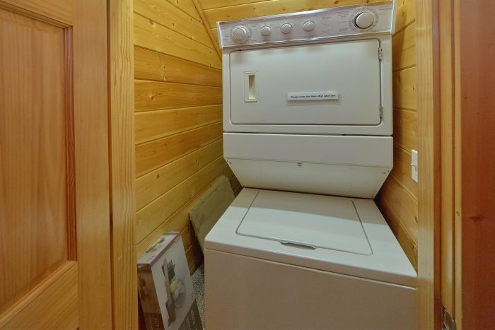 Stacked Washer and Dryer 5 Bedroom Cabin - In The Heart Of Pigeon Forge