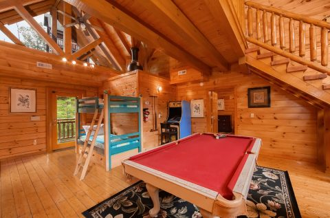 Game Room with Pool Table and Arcade Game - Indoor Pool Lodge