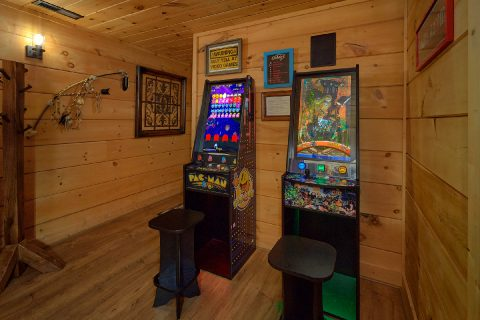Game Room with Arcade Games and Pool Table - KenKnight's Wilderness Lodge