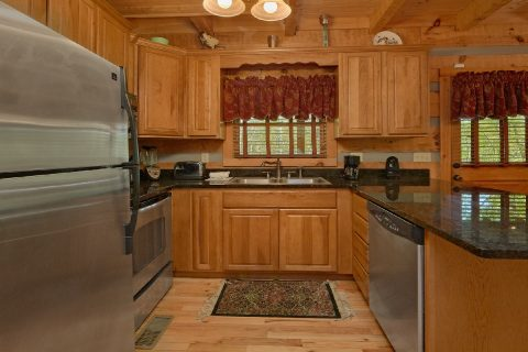 Full kitchen in spacious 1 bedroom cabin - Kicked Back Creekside