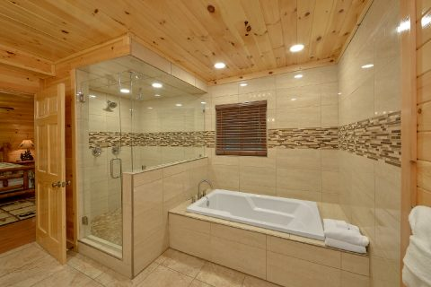 Master Bath with Jacuzzi Tub in 4 bedroom cabin - Laurel Manor