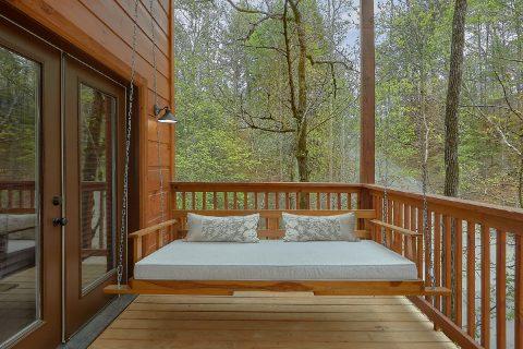Indoor Pool cabin with large porch swing - Laurel Splash