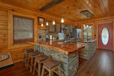 Living Room with Sleeper Sofa and Gas Fireplace - LeConte Waters