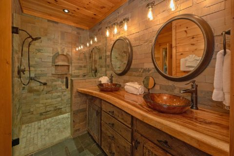 Master Bedroom with King Bed and Flatscreen TV - LeConte Waters