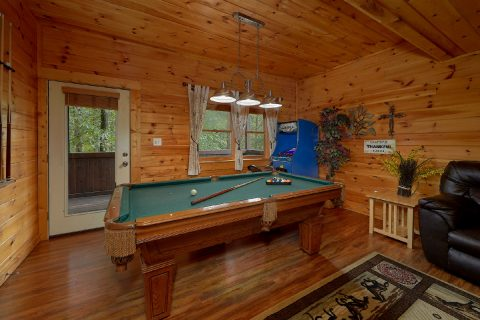 Game Room with Pool Table and Arcade Game - Lil Country Cabin