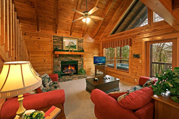 Fully Furnished Living Room in Cabin - Little Cove Hideaway