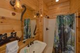 Private bathroom in King bedroom at luxury cabin