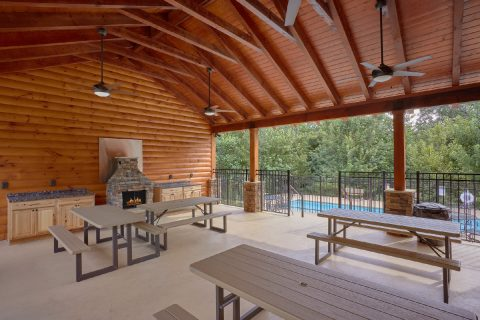 Pavilion with Outdoor Kitchen and Picnic Tables - Majestic Splash